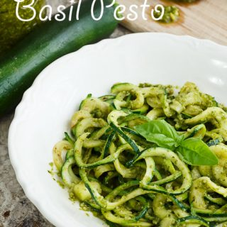 Basil Pesto over Sprialized Zucchini Noodles is a fresh, light, summery dish.