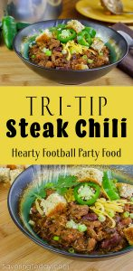Tri-Tip Steak Chili Recipe Served with Corn Bread Coutons and Jalapenos. This is one hearty, meaty football party favorite that always bring a WIN!