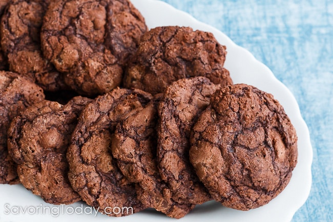 Easiest cookie recipe you will ever make. Soft, chewy chocolate cookies made with Ghirardelli Brownie Mix. Enjoy fresh or make and freeze.