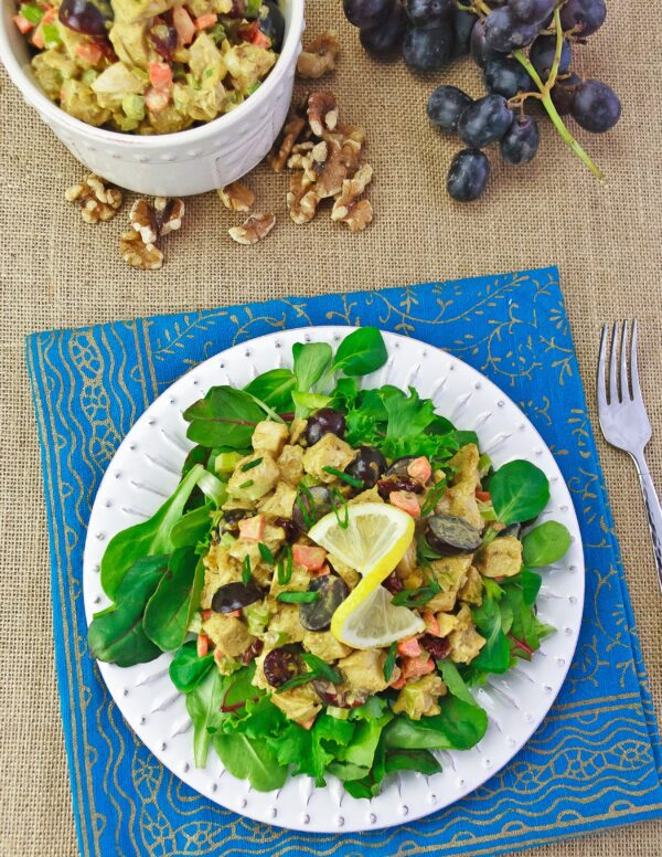 Curry Chicken Salad is a popular lunch or light dinner and can be served over lettuce or as sandwiches. A great light lunch recipe for bridal shower and baby shower buffet too!