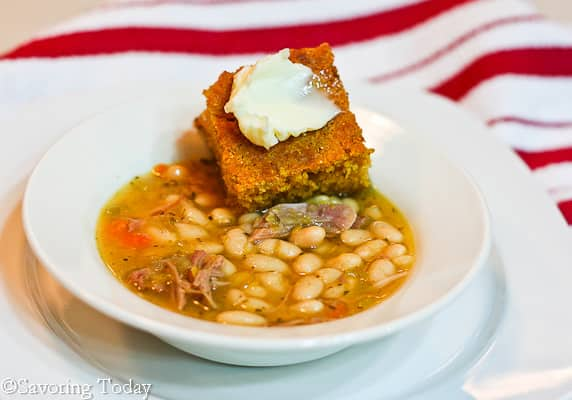Easy Smoked Turkey Bean Soup served with hearty corn bread