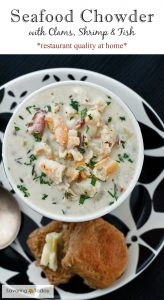 Seafood Chowder with Clams, Shrimp and Fish - restaurant quality at home!
