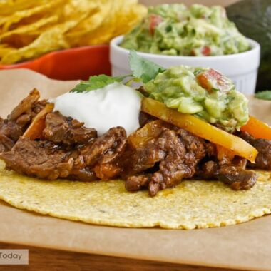 Seasoned beef, peppers and mushrooms in warm tortillas.