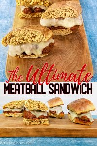 Meatball sandwiches on a cutting board.