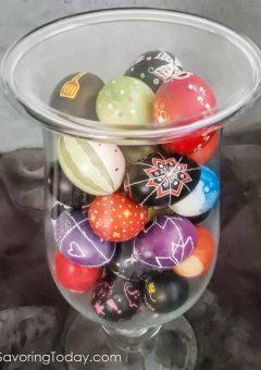 Ukrainian Easter Eggs in a Hurricane Vase
