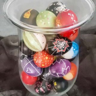 Ukrainian Easter Eggs in a Hurricane Vase