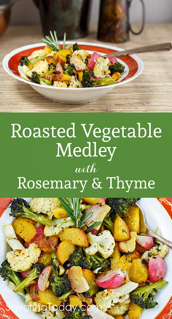 Roasted Vegetable Medley recipe is an easy vegetable side dish for any meal. Brighten holiday dinners with a variety of vegetables, deliciously seasoned with rosemary and thyme.