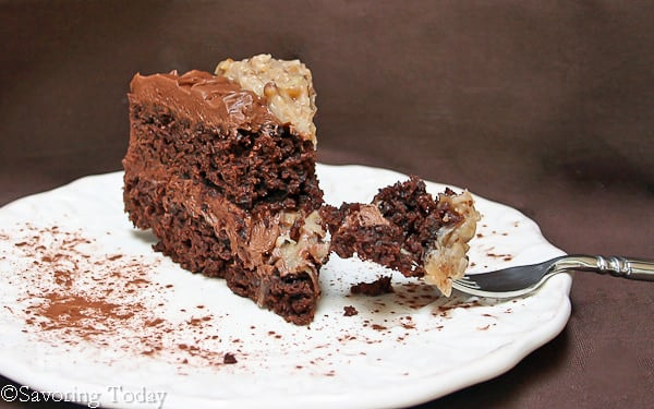 German Chocolate & Buttercream Frosted Cake | Savoring Today