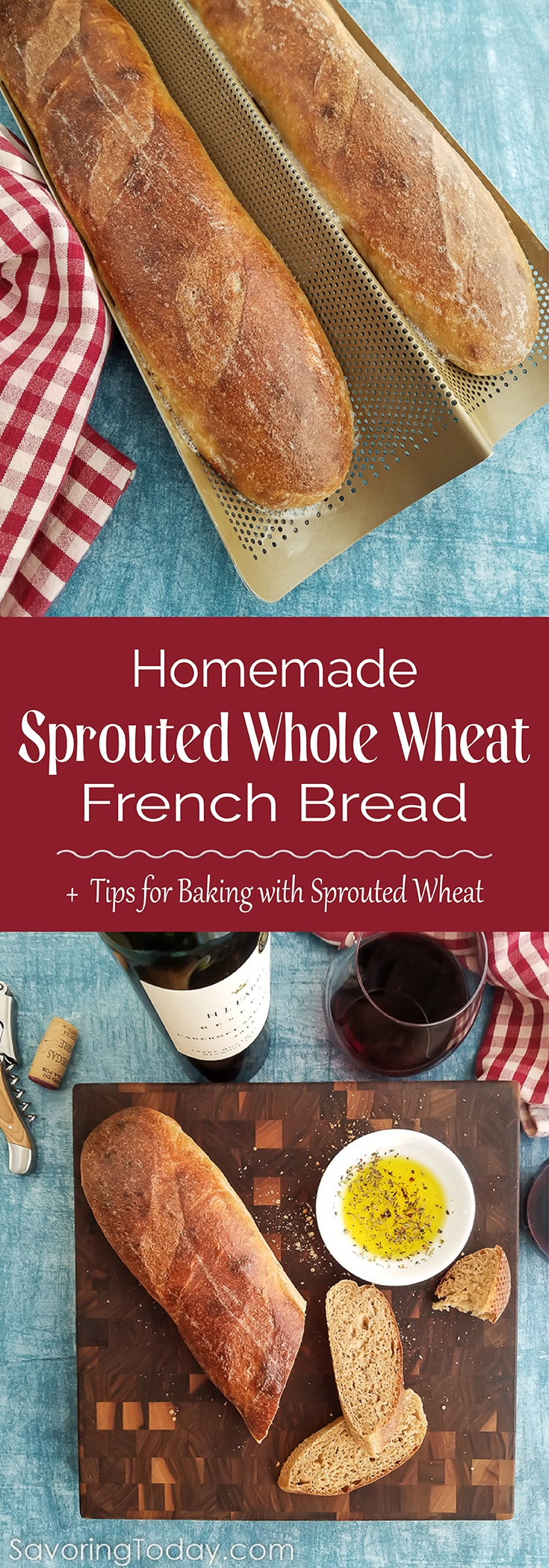 Learn important tips for baking with sprouted wheat by making this delicious Sprouted Wheat French Bread recipe. You'll love the texture and chewy crust of this bread.