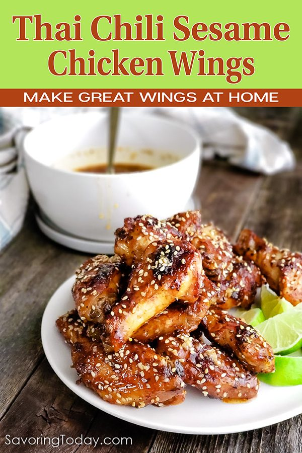 Thai Chili Chicken Wings on a white plate for Pinterest
