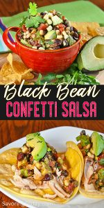 Salsa with black beans, corn and avocado in a red cup.