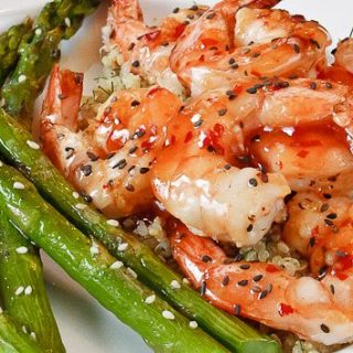 Grilled Thai Chili Sesame Shrimp with Asparagus is a quick weeknight meal everyone will love. Delicious, and done in under 30 minutes from scratch!