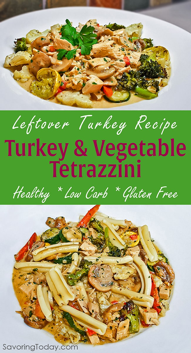 This Healthy, Low-Carb, Leftover Turkey Recipe is a satisfying meal you can feel good about. Turkey and Vegetable Tetrazzini is a delicious way to use up leftover holiday turkey.