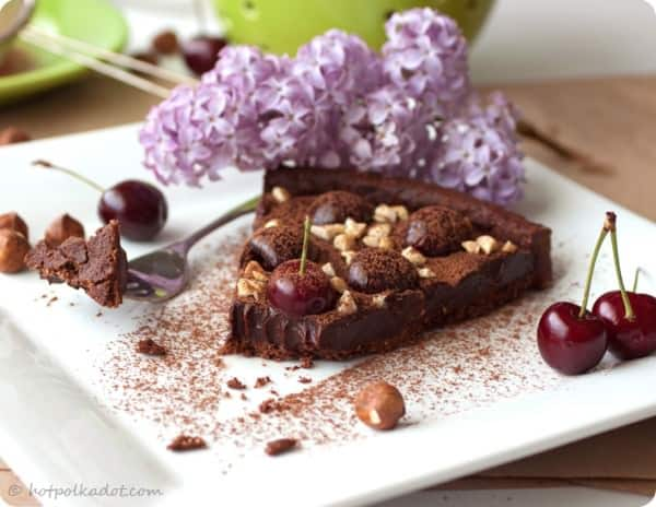 Chocolate Hazelnut Cherry Tart with fresh cherries and nuts. Part of Valentine's Day Dessert Recipe Ideas: 10 Sweet Treats for Your Sweetheart