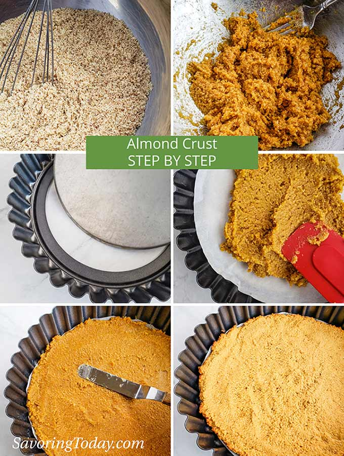 Step by Step photo collage for making almond flour tart crust.