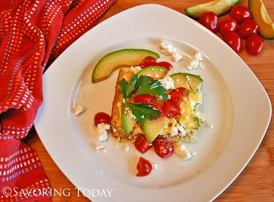 Egg & Sausage Breakfast Casserole w/ Tomato, Avocado, & Feta