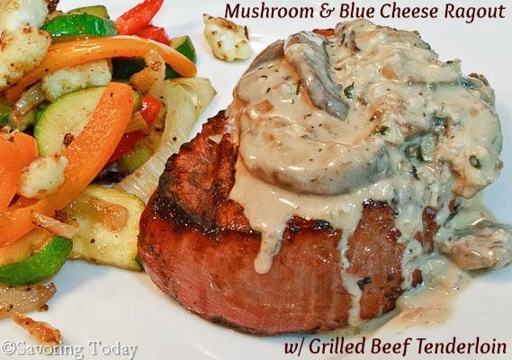 Mushroom & Blue Cheese Ragout over Beef Tenderloin | Savoring Today