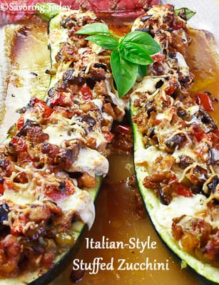Italian-Style Stuffed Zucchini | Savoring Today