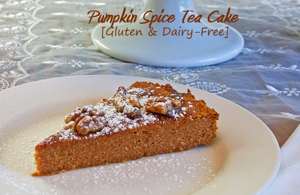 Pumpkin Spice Tea Cake Sliced for Brunch. Gluten and Dairy Free treat for breakfast, brunch or dessert.