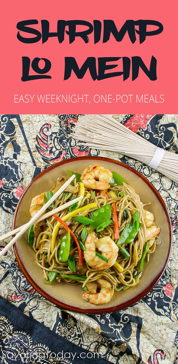 Shrimp Lo Mein Recipe for a delicious, one-skillet meal. Gluten-free options included.