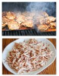 Chicken grilled over cedar planks.