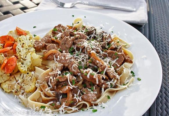 Beef Stroganoff w/ GF Egg Noodles| Savoring Today