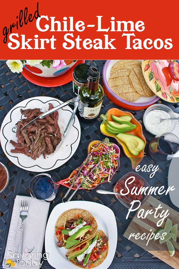 Skirt Steak Tacos served with avocado and rainbow slaw.