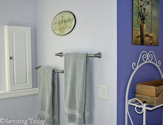 It was Matt's idea to off-set the towel bars to maximize the limited space. He's brilliant.