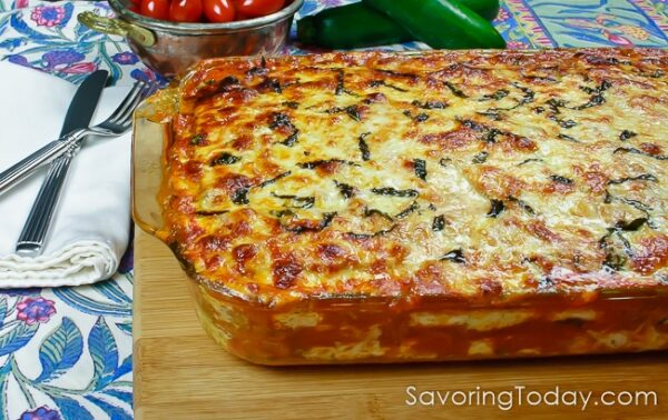 Meat Lover's Zucchini Lasagna fresh from the oven! You'll love this low-carb casserole that has all the flavor and none of the pasta. Gluten-free.