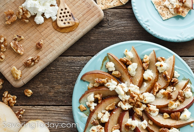 Make this simple appetizer recipe for your holiday table. Pear is an excellent substitution for the usual fig and goat cheese combo.