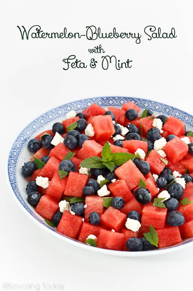 Sweet and savory Watermelon-Blueberry Salad recipe for a refreshing and beautiful side dish.
