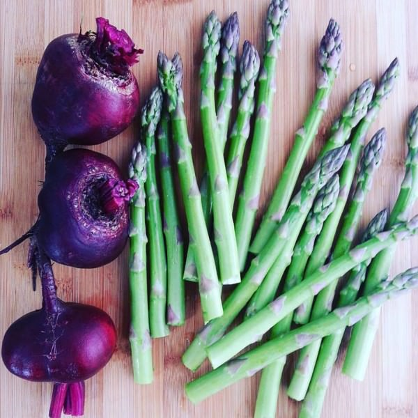 Beets and asparagus are a dynamic duo in one dish, complementing the flavor of each.