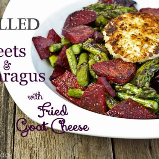 Grilled Beets & Asparagus with Fried Goat Cheese