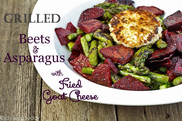 Grilled Beets and Asparagus with Fried Goat Cheese is an impressive and easy side dish.