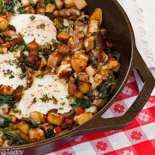Savory Breakfast Skillet with Sweet Potatoes, Sausage and Sunny Eggs