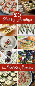 Collection of healthy recipes for holiday parties.