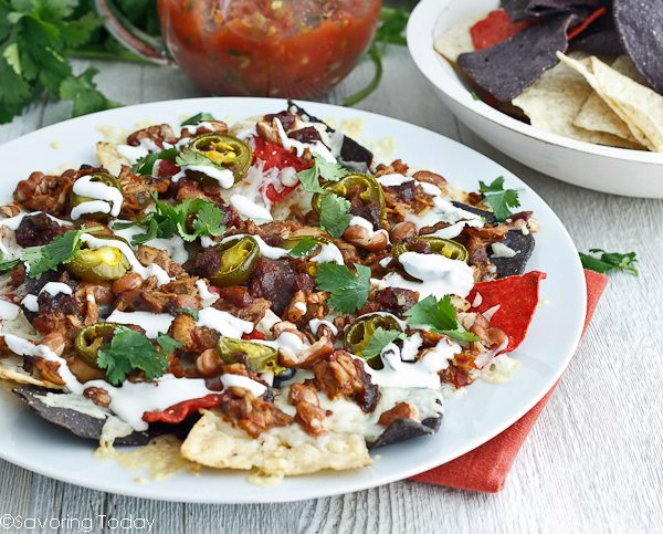 Smoky BBQ Chicken Nachos recipe is an easy party appetizer and crowd favorite.