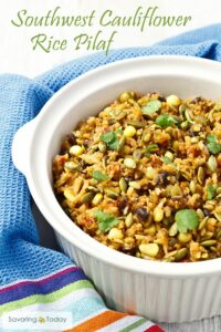 A delicious and healthy low-carb, gluten-free cauliflower rice pilaf recipe. Serve as a side dish or add grilled chicken or steak for a simple and satisfying meal.