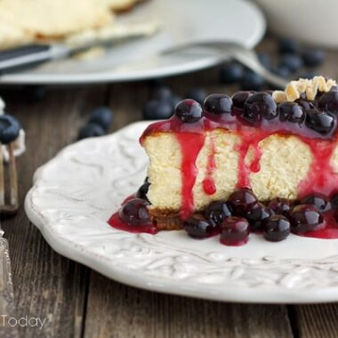 Rich and dense cheesecake recipe with blueberry topping for very special occasions.