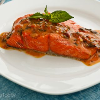 !0 BEST summer grilling recipes. Grilled Wild Salmon served with Tomato-Basil Butter Sauce, made from compound butter and white wine.