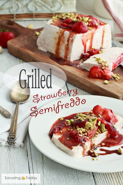 Creamy frozen dessert recipe with grilled strawberries for refreshing summer evenings.