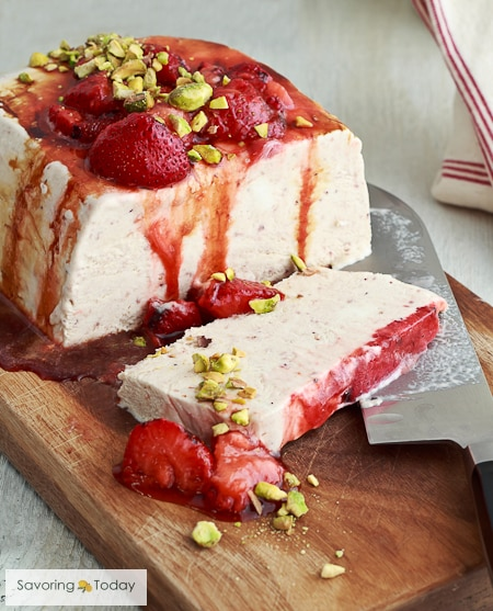 Grilled Strawberry Semifreddo is creamier than ice cream and no machine is needed.