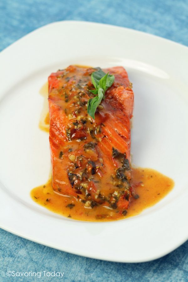 14 BEST summer grilling recipes. Grilled Wild Salmon served with Tomato-Basil Butter Sauce, made from compound butter and white wine.