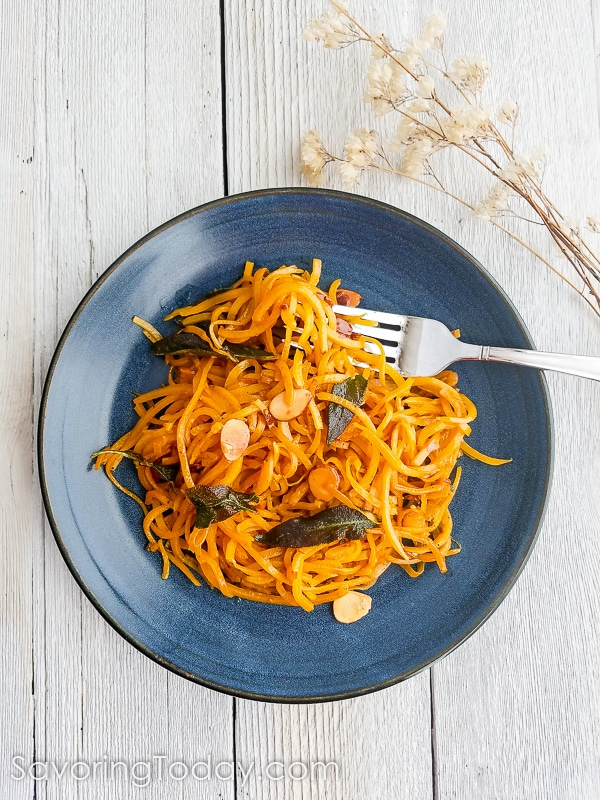 Butternut Squash noodles in almond and sage brown butter recipe. Easy, delicious and healthy!