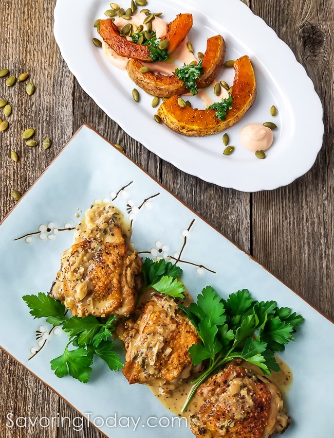 Chicken Thighs in Mustard Sauce with Roasted Butternut Squash and Gochujang Yogurt Sauce. Tangy-spicy sauce and fresh herb paste balance the subtle sweetness of the Roasted Butternut Squash. And there's no need to peel the squash!