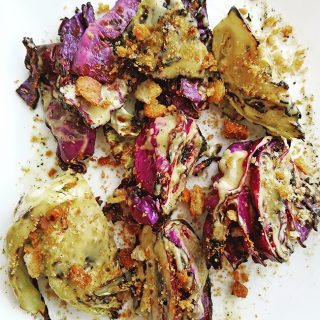 Grilled Cabbage with classic Caesar Dressing and Crushed Croutons is an impressive new side dish from the grill.