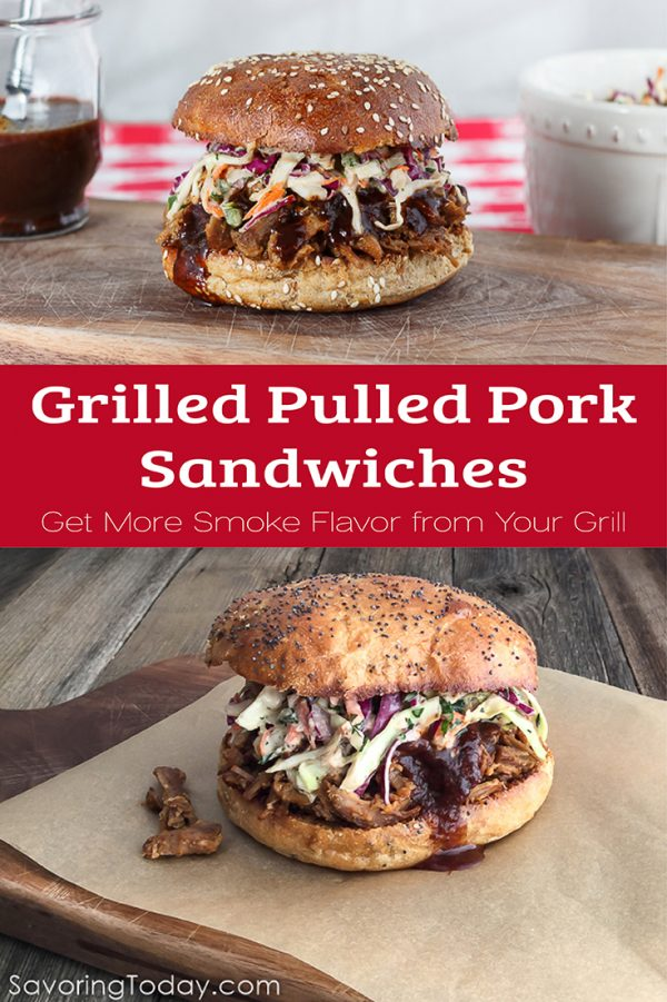 Grilled Pulled Pork Sandwich on a cutting board.