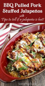 Baked jalapenos stuffed with BBQ pulled pork makes a party-favorite appetizer! Learn how to select the right jalapenos for the best flavor too.