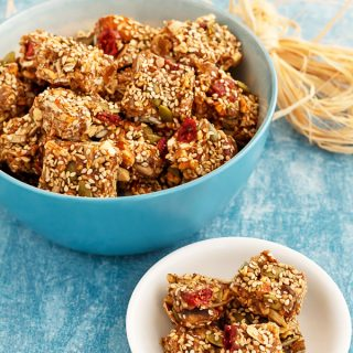 This no-bake healthy granola snack is grain-free and easy to customize to suit any diet preference. Specked with bits of ginger and pumpkin pie spices make these great-tasting snacks a favorite in the fall.
