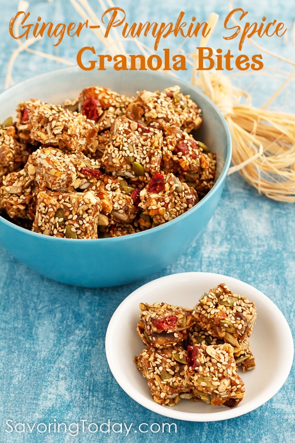 This no-bake healthy granola snack recipe is grain-free and easy to customize to suit any diet preference. Specked with bits of ginger and pumpkin pie spices make these great-tasting snacks a favorite in the fall.